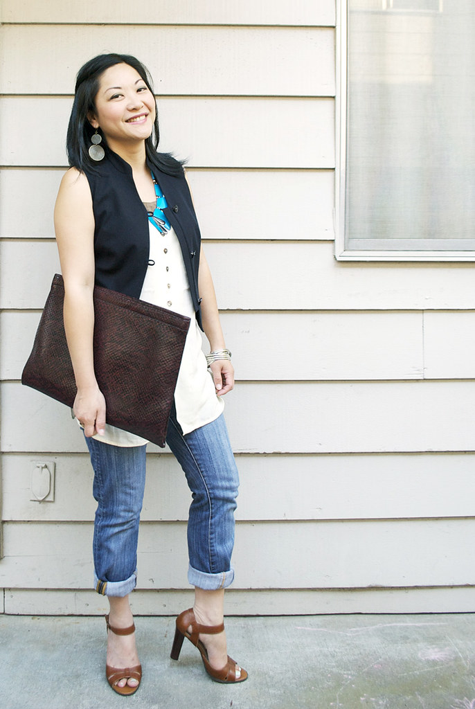 Black Vest - Cream Silk Sleeveless Top - Rolled Jeans - BCBG Heels - Snakeskin Oversized Clutch - Vintage Turquoise Necklace