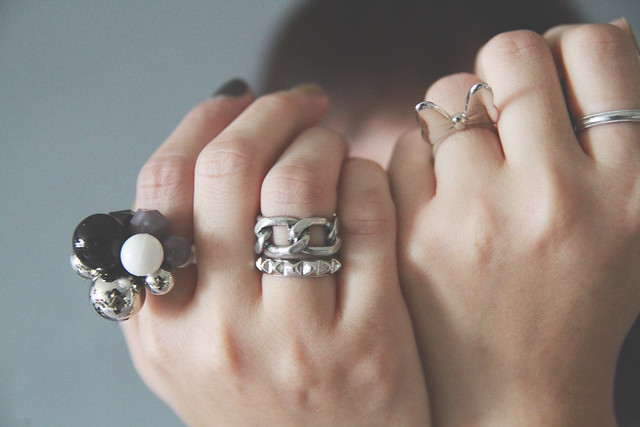 Gray, silver, black & white Rings