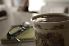 Tea Please. (meaghanmay) Tags: white black bunny cup sepia glasses tea hop teacup tones hopping picnik theperksofbeingawallflower