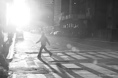 Morning March (pic fix) Tags: street city nyc people urban blackandwhite woman monochrome america canon buildings crossing pavement manhattan candid monotone figure 2010 canonphotography sunrisesunsets scenicsnotjustlandscapes ysplixblack