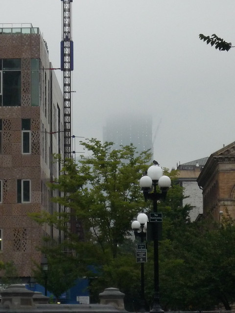 One World Trade Center, under construction, as seen from Washington Square Park, NYC
