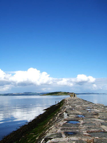 The breakwater at Cramond Beach