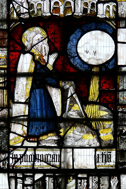 Creation of Heaven and Earth. medieval stained glass