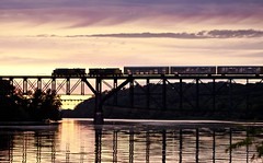 Southbound CSX (alextbaum) Tags: bridge sunset water train reflections river md maryland freight havredegrace pinnacle trainbridge susquehannariver freighttrain perryville thepinnaclehof autohaulers tphofweek113