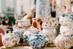(emilyharriet) Tags: london film 35mm pretty market patterns stall olympus om10 pottery portobello teapots