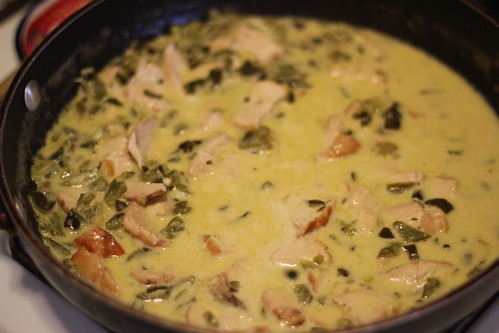 Pasta with poblano cream sauce and chicken