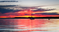 Sunset on Ashroaken (MDanielsonPhoto) Tags: sunset newyork beach water clouds sailboat evening bay boat seaside nautical buoy northport huntingtonbay ashroaken