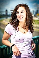 RAW! (tobi_digital) Tags: brown laura girl smile rose river 50mm nikon raw bokeh frankfurt rosa colored f28 osthafen honsellbrücke nikond700 fotophilnet andreasnadler