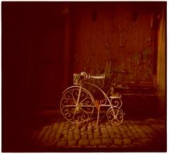 penny farthing (-ciaran) Tags: autumn 120 6x6 film vintage mediumformat holga xpro shadows crossprocess doorway ornament laneway cobbles vignette flakingpaint provia400 oldeworlde colourshift