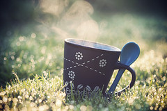 Morning coffee (Mathijs Delva) Tags: morning sun sunlight cup water coffee grass fog closeup drops warm bokeh pastel spoon dew condensation condens 100mmf28macro