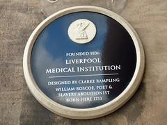 Photo of William Roscoe and Clarke Rampling black plaque