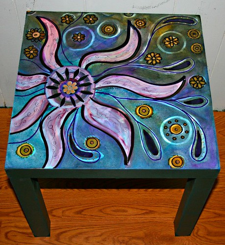 Painted Flowers Coffee/Side/End Table 18'' x 18'' x 17.7'' by Rick Cheadle Art and Designs