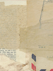 Exercise in Simplicity 3 (Leah Virsik) Tags: collage monochromatic envelopes neutral foundpaper bookpages patternpaper