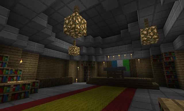 La salle dans laquelle Moribus et Zplay ont fait leur discours avant de dévoiler le monument.