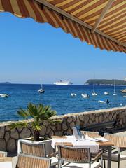 care for a drink? (Abizeleth) Tags: summer table boats cafe warm ship croatia drinks cruiseship dubrovnik adriaticsea lapad herowinner