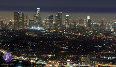 View from Griffith Observatory (Blue_gsx) Tags: california night losangeles downtown hollywood lighttrails