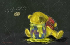 Gluttony (CyanosisVX) Tags: photoshop painting disney seven pooh se7en winnie wacom gluttony sins deadly ditial