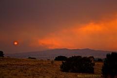 Red Sun (monica jeannine) Tags: newmexico fire smoke picnik digitalphotography canonrebelxti