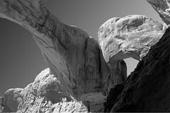 Double Arch Black and White (BHagen) Tags: summer blackandwhite bw hot utah blackwhite sand nikon sandstone desert arches moab archesnationalpark d90