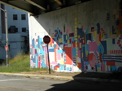 \ (Zombie37) Tags: city bridge light shadow urban geometric colors dark underpass concrete graffiti mural colorful paint shadows view darkness post painted under gray shapes angles overpass baltimore falls hamden line pole stop stopsign backlit angular 83 fallsrd