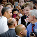 President Barack Obama shakes Vice Chancellor of Student Affairs Tom Stafford's hand.
