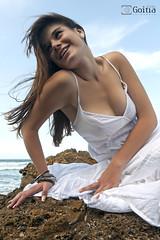 Daniela 01 (G. Goitia) Tags: portrait white cute sexy blanco beach beautiful beauty look rock composition canon pose book model eyes retrato playa modelo sensual yeux ojos linda frame session framing cleavage guapa blanc roca belleza composicin whitedress sesin 2470mm posado postura canoneos5d eos5d chercher canon2470mm canon2470mmf28lusm