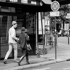 A Moment (yablinksht) Tags: city bw paris france guy girl french cafe 11 moment streetshooting