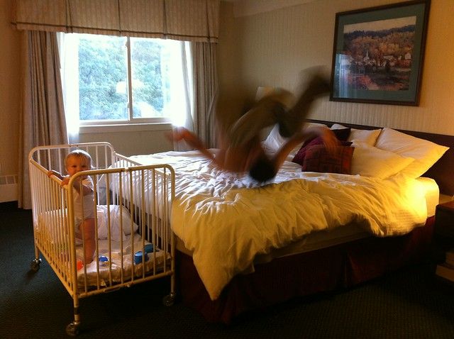 jumping on hotel bed #1