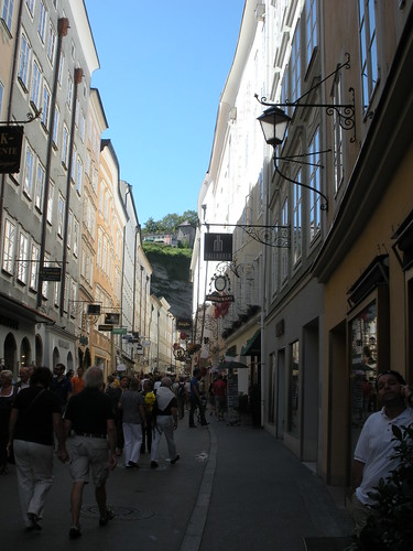 Medieval streets with gilded signs Salzburg Austria