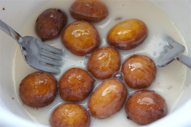 Glazed pumpkin donut holes