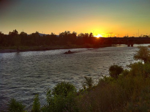 Sunset over the River in Missoula