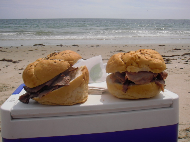beef on weck on beach