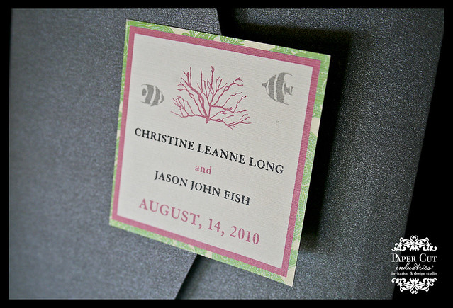 Grey, Pink and Green Marine Life Wedding Invitations