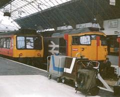 Glasgow Queen Street, August 1989, 26025 / 47716 / 107745 (elkemasa) Tags: 1989 dmu glasgowqueenstreet class26 class107