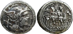 106/3d - 107/1d anonymous Staff-C Roma Dioscuri denarius 4g02, in style that cannot be distinguished between RRC 106 and RRC107