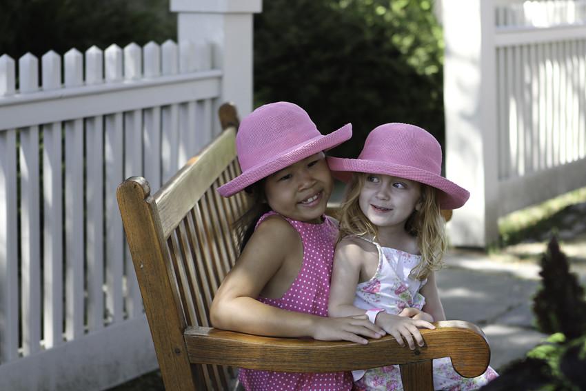 Mystic bench girls smiling