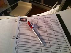 AstaYoga sign-in sheet with Space Shuttle Pen (Eric Broder Van Dyke) Tags: pen with space shuttle sheet kin signin astayoga
