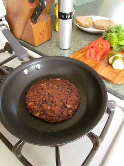 Veggie Burger in Frying Pan
