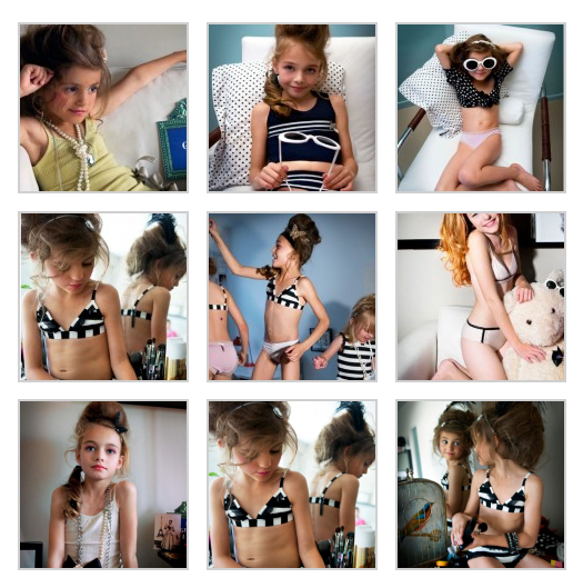 nine thumbnail images of young white girls in underwear and tank tops, styled with adult hair and makeup and pearls