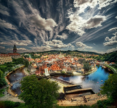 Cesky Krumlov, vertorama (Stevacek) Tags: summer sky clouds dramatic wideangle czechrepublic ceskykrumlov sigma1224mm hdr ceskarepublika eskkrumlov southbohemia eskrepublika jihoeskkraj stevacek d700 vertorama august2011 jihoceskykraj