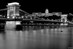 Szchenyi Lnchd and Budai Vr (Jirka Chomat) Tags: street city bridge light bw reflection castle night river hungary budapest most chateau hrad zmek noc kostel hungarian msto dunaj lightnight eka svtlo maarsko budape donnau