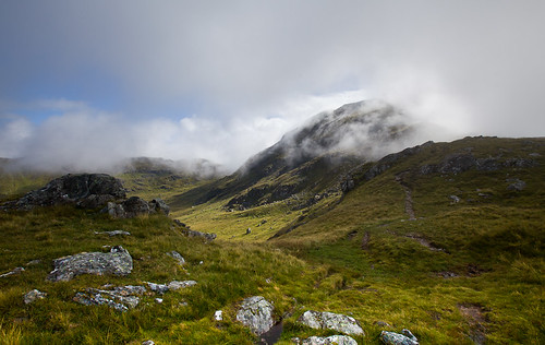 The mist starts to leave Cruach Ardrain