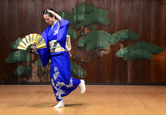 The kimono blue (ogawa san) Tags: blue beautiful japan fan stage noh  kimono yokohama    treditional japanesedancing   colorphotoaward
