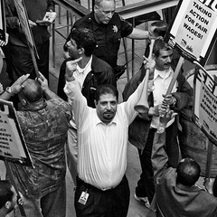 The Pissed Off Janitor (Thomas Hawk) Tags: sanfrancisco california bw usa unitedstates unitedstatesofamerica union protest ferrybuilding seiu flippinthebird serviceemployeesinternationalunion