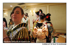 Cueing up to Talk to Kurokami (Kurokami) Tags: ladies girls woman toronto ontario canada girl japan lady asian japanese women asia traditional yukata kimono obi kitsuke furisode tsukesage kanzashi oiran kamuro wafrica