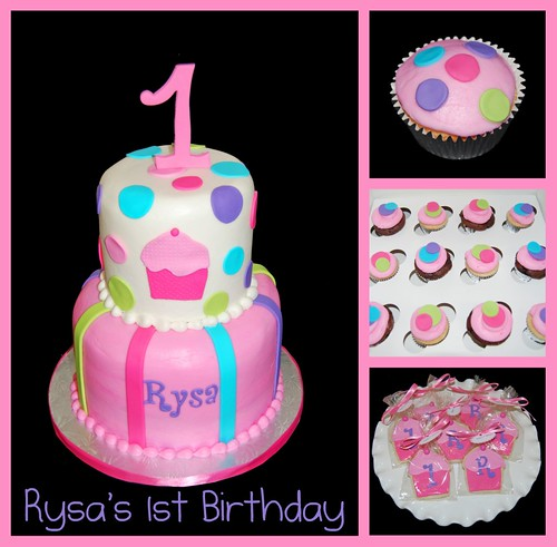 1st birthday cupcake themed celebration - pink, purple, aqua, green