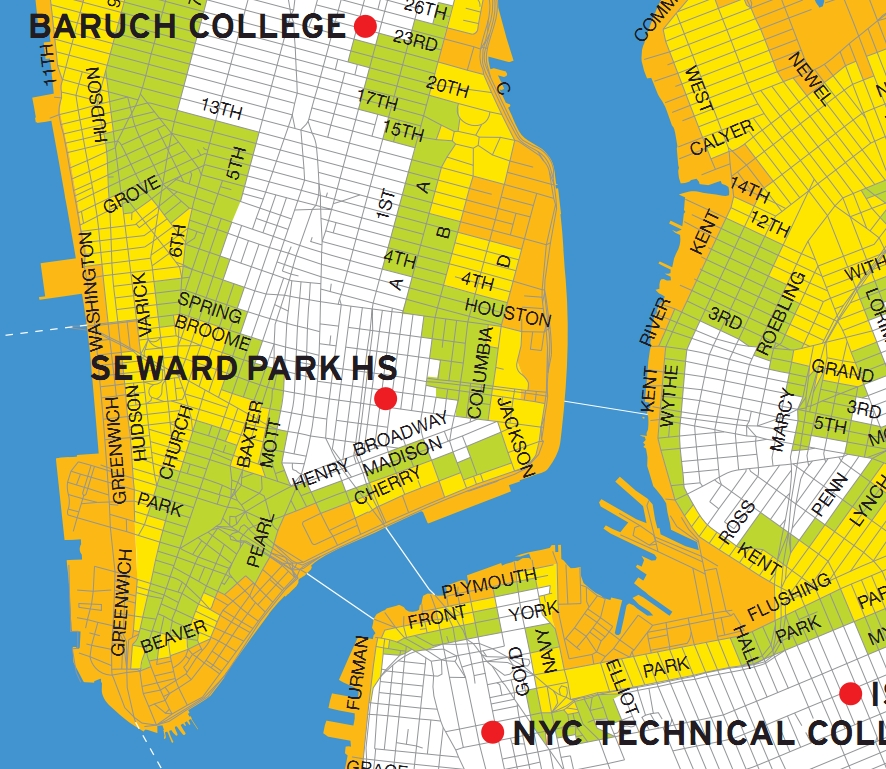 Downtown Manhattan Storm Surge Map