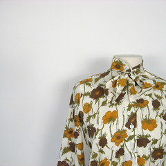 1960s ascot neck blouse with mustard and brown floral print (Small Earth Vintage) Tags: flowers brown floral yellow shirt scarf vintage print gold clothing women 60s top ascot blouse crepe mustard 1960s secretary shipnshore smallearthvintage