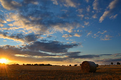 Orchard Park Campsite#1 (BiffIncoming) Tags: sunset sky field farm hay bail campsite orchardpark tuxford marnham