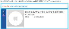 110831 - TVA《魔法少女小圓》的Blu-ray Disc第5卷空降ORICON首週冠軍,並創下連續5卷均破5萬片!